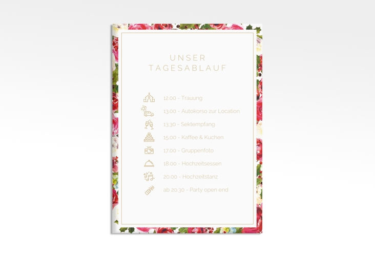 """Tagesablauf Leinwand Hochzeit """"Blumenpracht"""" 50 x 70 cm Leinwand weiss"""