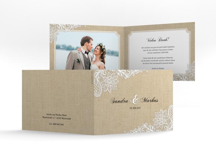 "Danksagungskarte Hochzeit ""Lace"" A6 Klappkarte Quer"