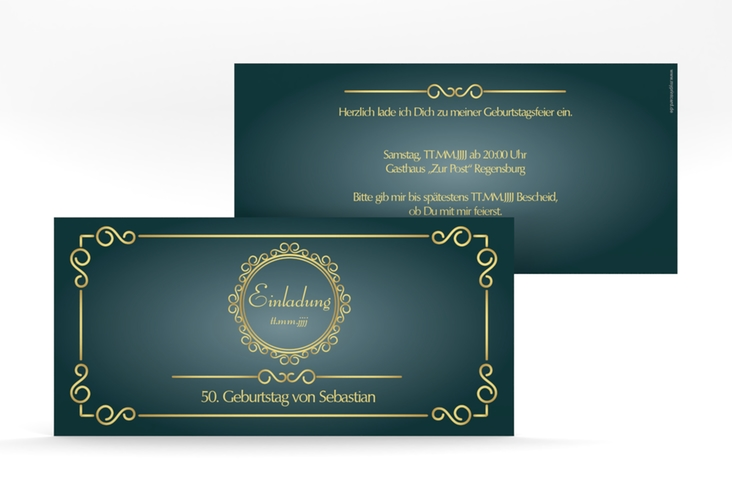"Einladungskarte ""Bert/Berta"" DIN lang blau"