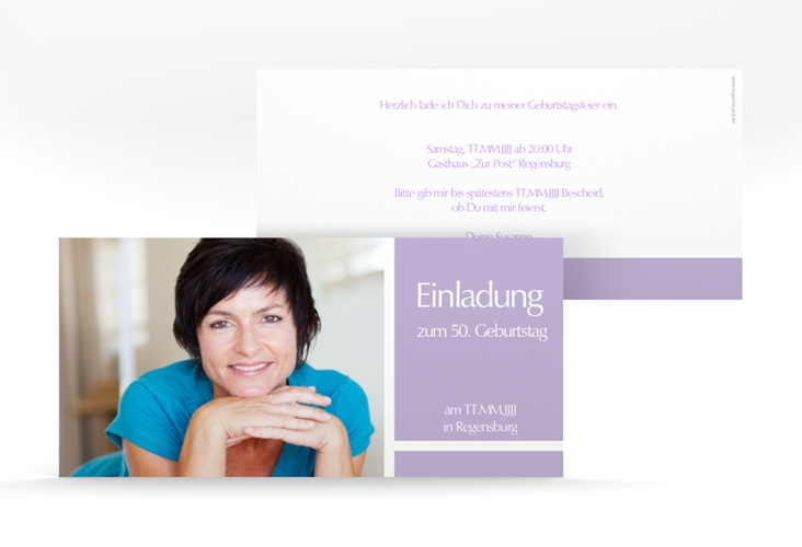"Einladungskarte ""Gerd/Gerda"" DIN lang lila"