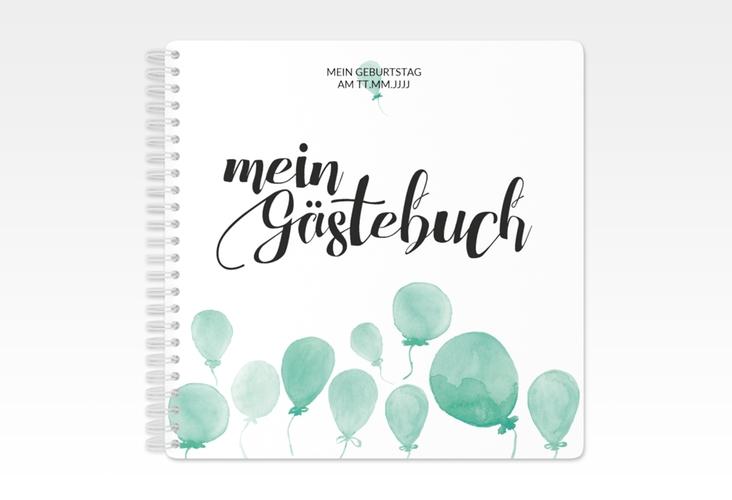 "Gästebuch Geburtstag ""Ballon"" Ringbindung gruen"