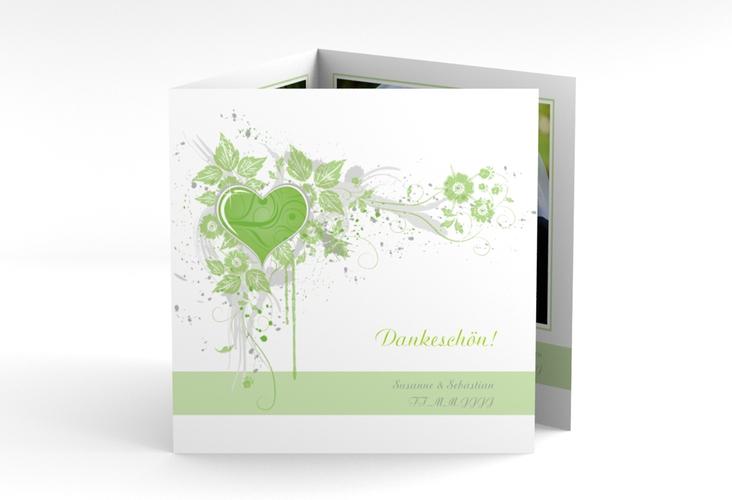 "Dankeskarte Hochzeit ""Triest"" Quadr. Karte doppelt gruen"