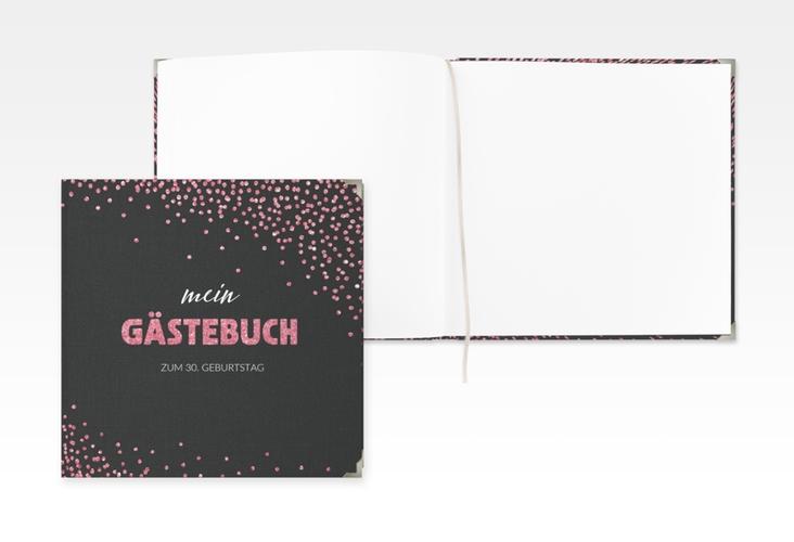 """Gästebuch Selection Geburtstag """"Glitzer"""" Leinen-Hardcover pink"""