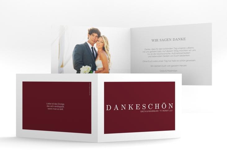 "Dankeskarte Hochzeit ""Simply"" A6 Klappkarte Quer rot"