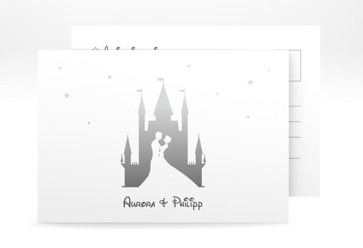 "Antwortkarte Hochzeit ""Castle"" A6 Postkarte grau"