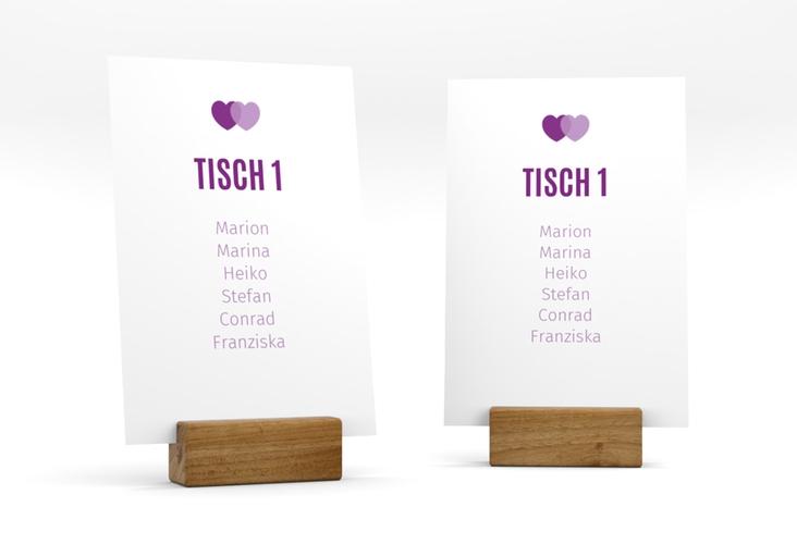 """Tischaufsteller Hochzeit """"Couple"""" Tischaufsteller lila"""