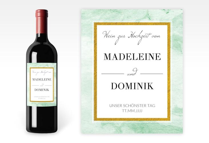 """Weinetikett zur Hochzeit """"Marble"""" Etikett Weinflasche 4er Set gruen"""