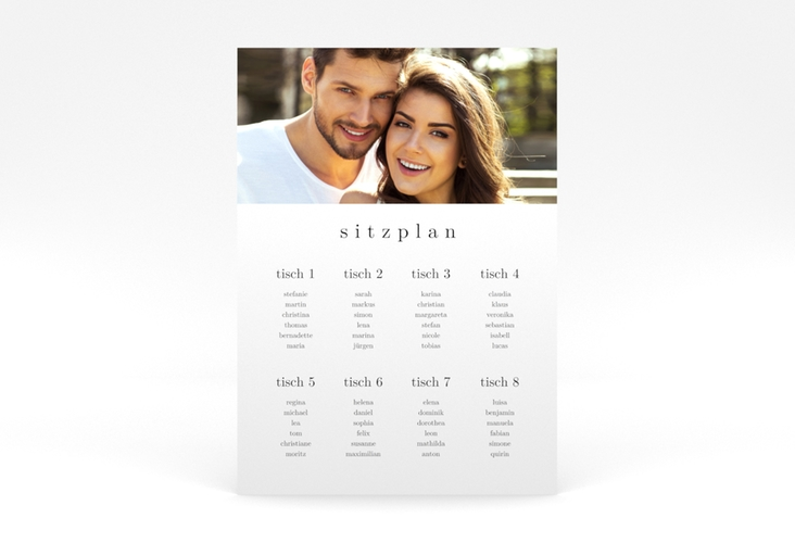 """Sitzplan Poster Hochzeit """"Minimal"""" 50 x 70 cm Poster"""