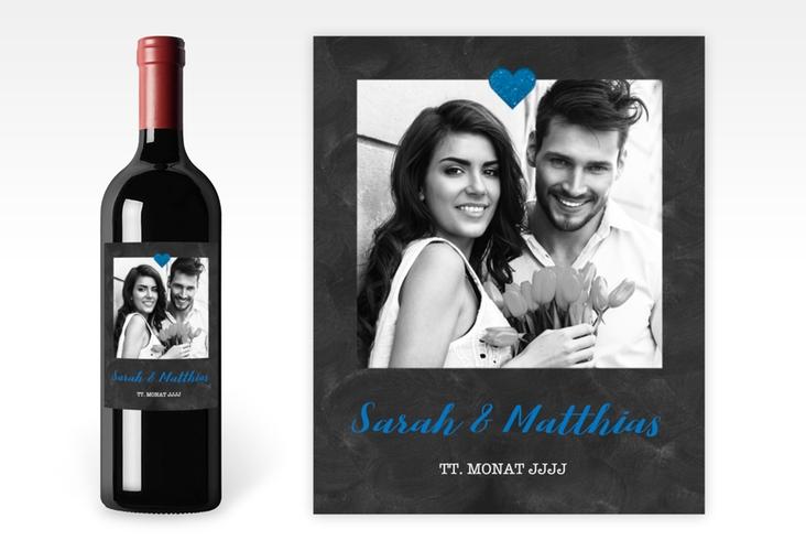 """Weinetikett zur Hochzeit """"Sparkly"""" Etikett Weinflasche 4er Set blau"""