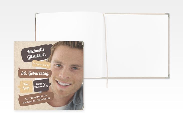 "Gästebuch Selection Geburtstag ""Whatsup"" Leinen-Hardcover braun"