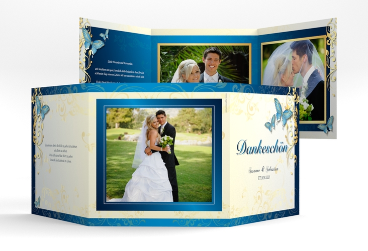 "Dankeskarte Hochzeit ""Toulouse"" Quadr. Karte doppelt blau"