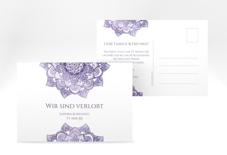 """Verlobungskarte Hochzeit """"Delight"""" A6 Postkarte lila"""
