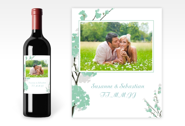 """Weinflaschenetikett Hochzeit """"Salerno"""" Etikett Weinflasche 4er Set mint"""