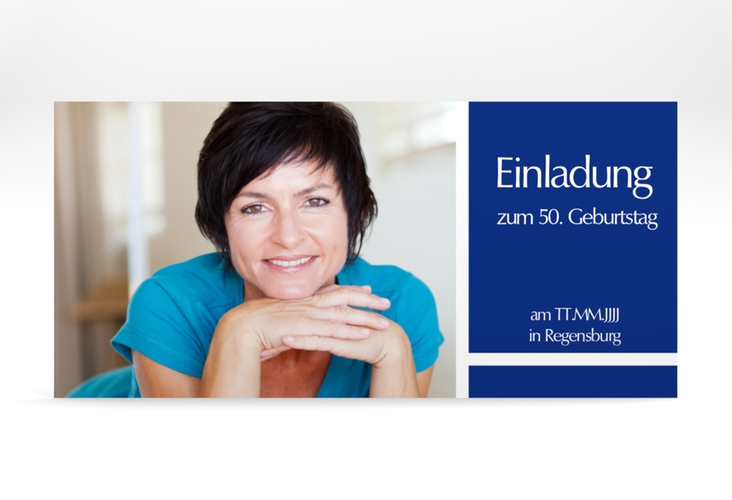 """Einladungskarte """"Gerd/Gerda"""" DIN lang blau"""