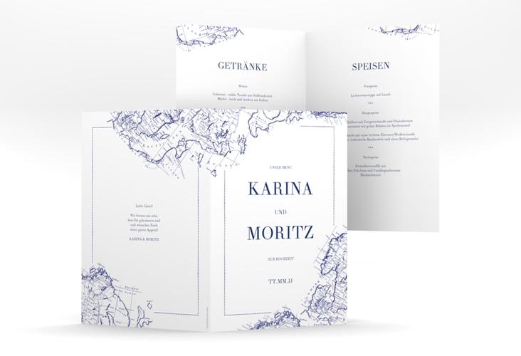 """Menükarte Hochzeit """"Voyage"""" DIN A5 geklappt blau"""