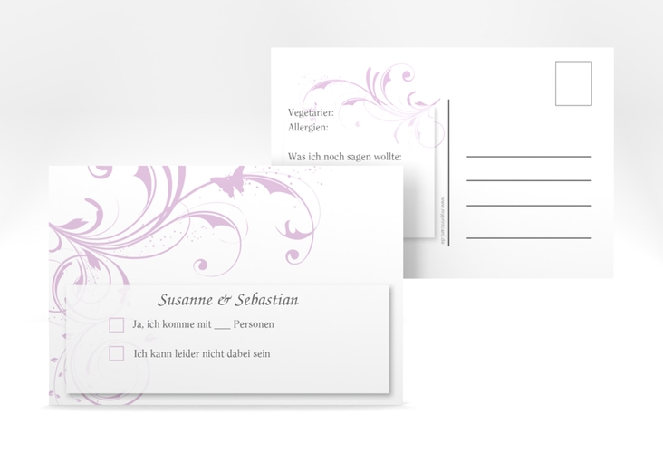 "Antwortkarte Hochzeit ""Palma"" A6 Postkarte flieder"