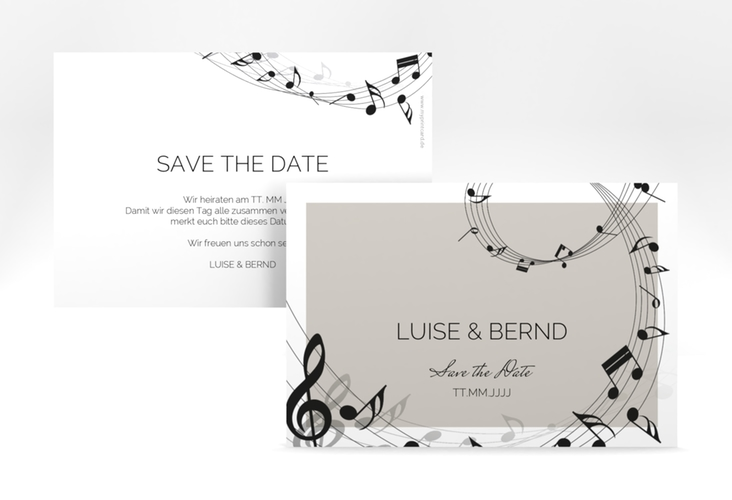 "Save the Date-Karte ""Melody"" A6 quer grau"