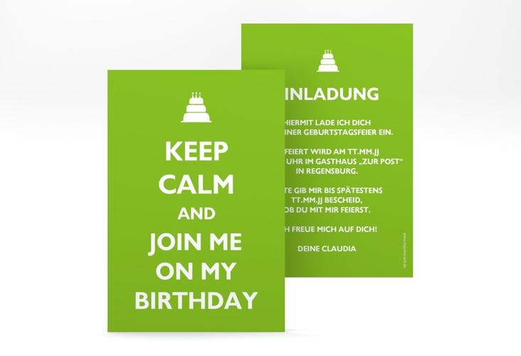 """Einladungskarte """"KeepCalm"""" A6 hoch gruen"""