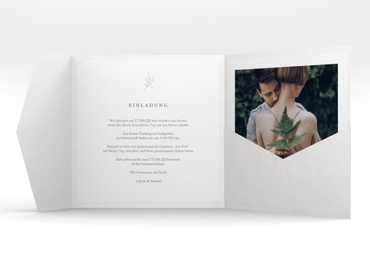 """Hochzeitseinladung """"Ivy"""" Pocketfold weiss"""