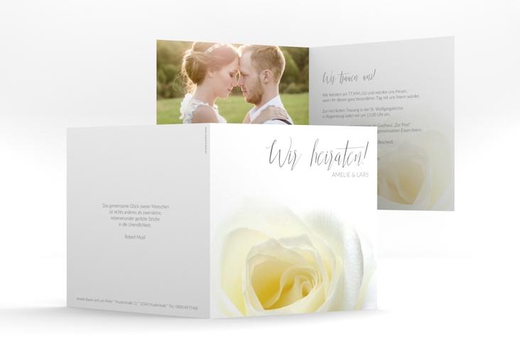 """Hochzeitseinladung """"Rose"""" Quadratische Klappkarte"""