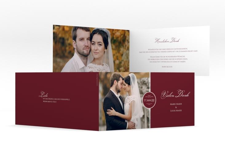 "Dankeskarte Hochzeit ""Elegancy"" DIN lang Klappkarte rot"
