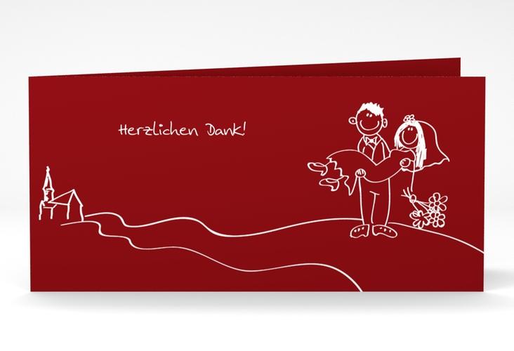 "Danksagungskarte Hochzeit ""Pisa"" DIN lang Klappkarte rot"