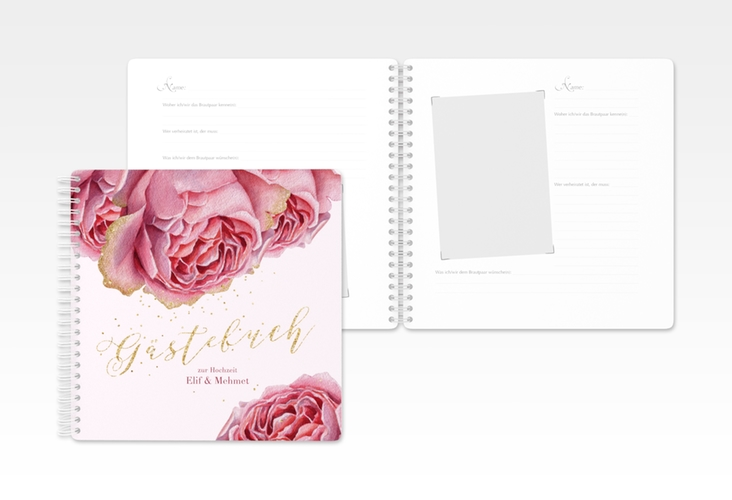 """Gästebuch Hochzeit """"Cherie"""" Ringbindung gold"""