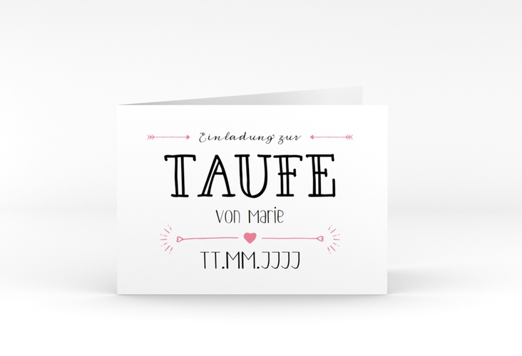 "Taufeinladung ""Lettering"" A6 Klappkarte Quer rosa"