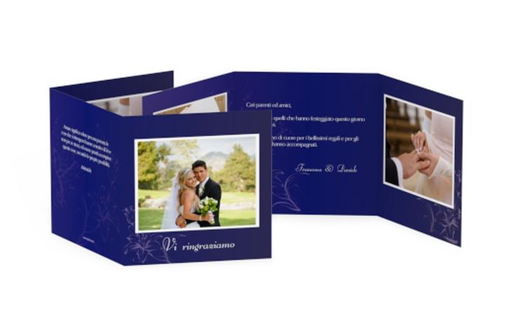 Ringraziamenti matrimonio collezione Lille Quadr. Karte doppelt blu