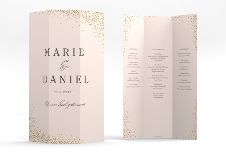 "Menükarte Hochzeit ""Glitter"" DIN A4 Wickelfalz rosa"