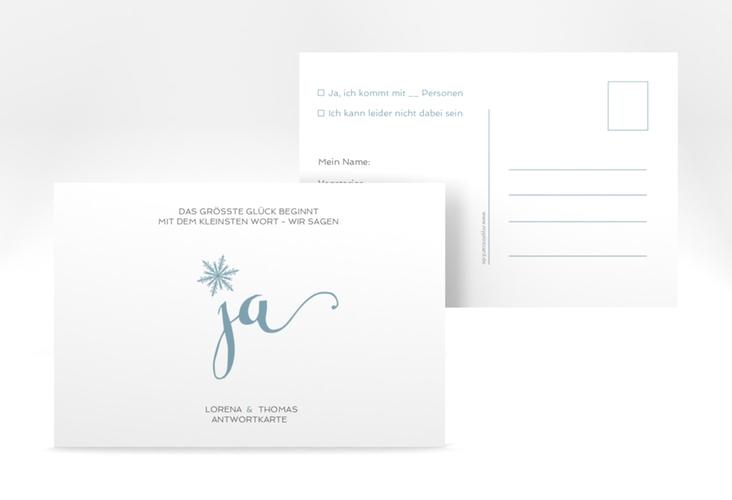 "Antwortkarte Hochzeit ""Snowflake"" A6 Postkarte blau"