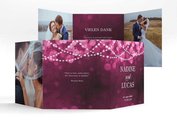 """Dankeskarte Hochzeit """"Lichtspiel"""" Quadr. Karte doppelt pink"""