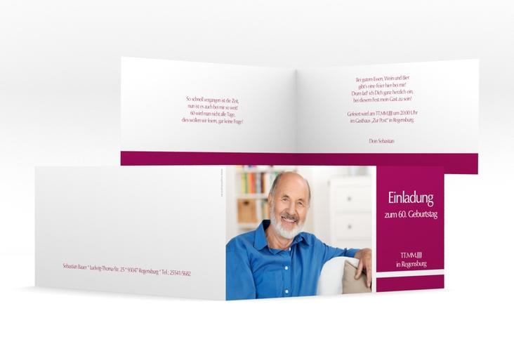 "Einladungskarte ""Gerd/Gerda"" DIN lang Klappkarte pink"