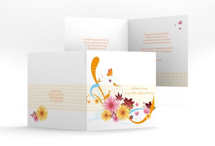 """Einladungskarte """"Elisabeth"""" Quadratische Klappkarte orange"""