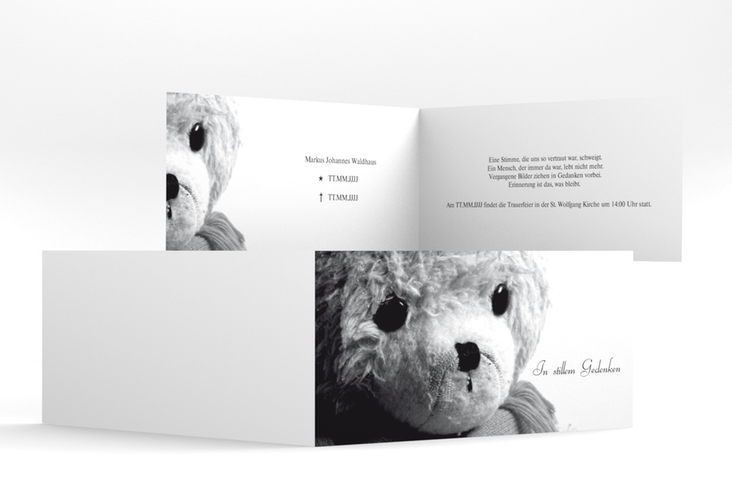 "Trauerkarte ""Teddy"" DIN lang Klappkarte"