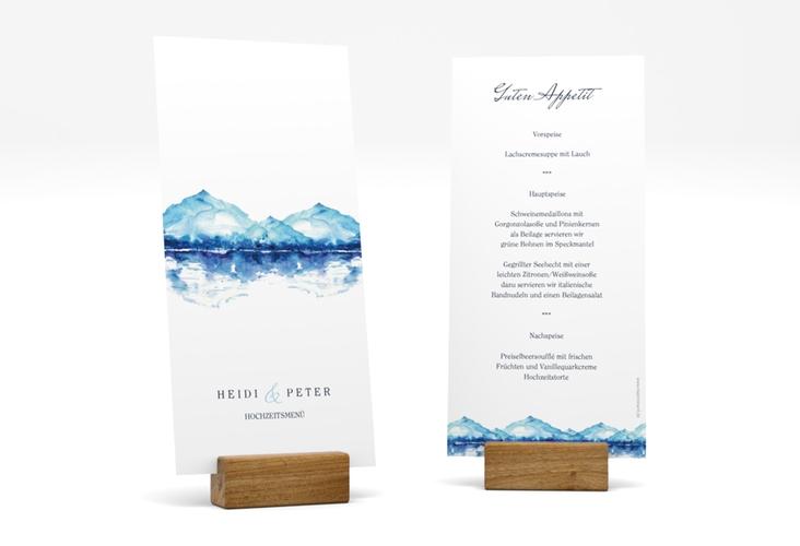 "Menükarte Hochzeit ""Bergliebe"" DIN lang hoch blau"