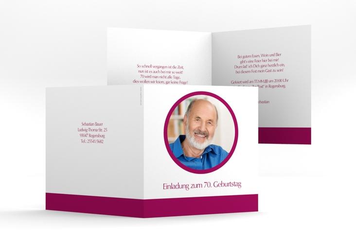 "Einladungskarte ""Anton/Antonia"" Quadratische Klappkarte pink"
