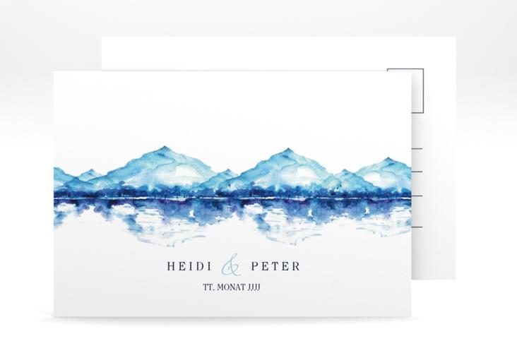 "Antwortkarte Hochzeit ""Bergliebe"" A6 Postkarte blau"