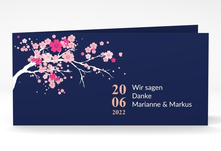 "Danksagungskarte Hochzeit ""Sakura"" DIN lang Klappkarte"
