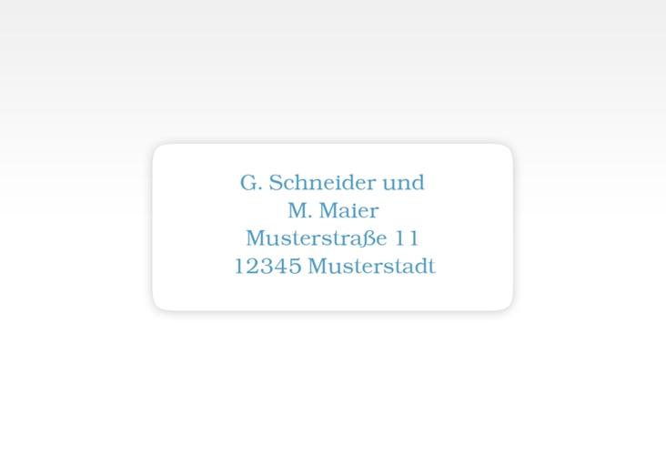 """Absenderetikett Hochzeit """"Muschelreich"""" 45,7 x 21,2 mm blau"""