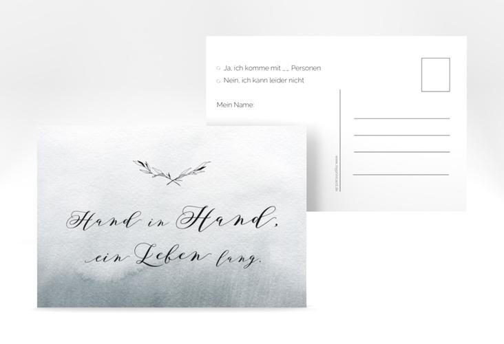 """Antwortkarte Hochzeit """"Divine"""" A6 Postkarte schwarz"""