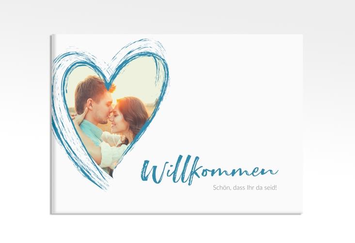 """Willkommensschild Leinwand """"Liebe"""" 70 x 50 cm Leinwand tuerkis"""