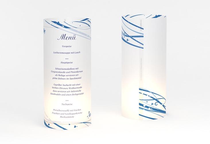 """Windlicht Menü Hochzeit """"Mailand"""" Windlicht blau"""