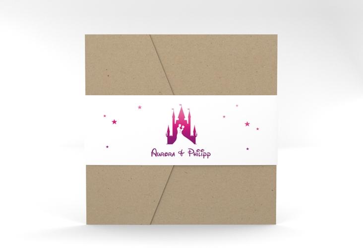 """Hochzeitseinladung """"Castle"""" Pocketfold pink"""