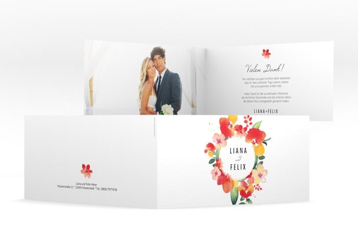 "Danksagungskarte Hochzeit ""Exotic"" DIN lang Klappkarte weiss"