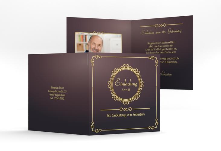 """Einladungskarte """"Bert/Berta"""" Quadratische Klappkarte lila"""