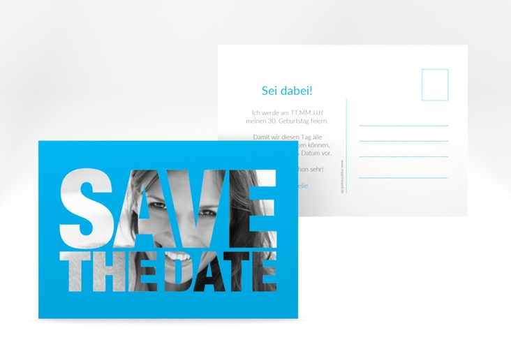 "Save the Date-Postkarte ""Numbers"" A6 Postkarte blau"