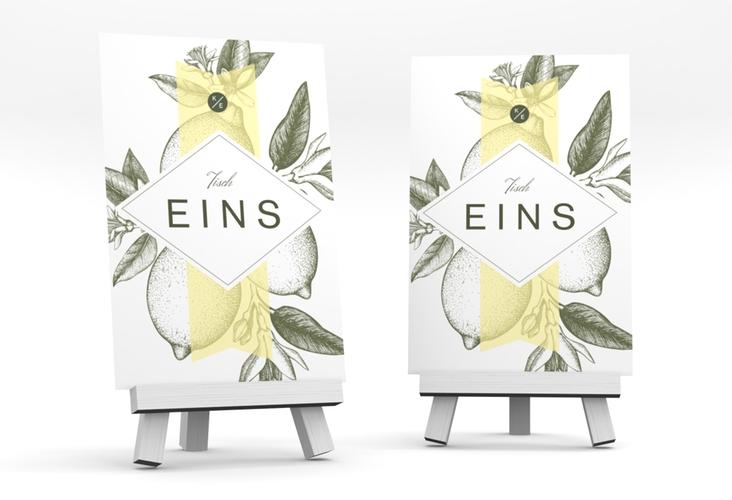 """Tischnummer Hochzeit """"Lemon"""" Tischaufsteller gelb"""