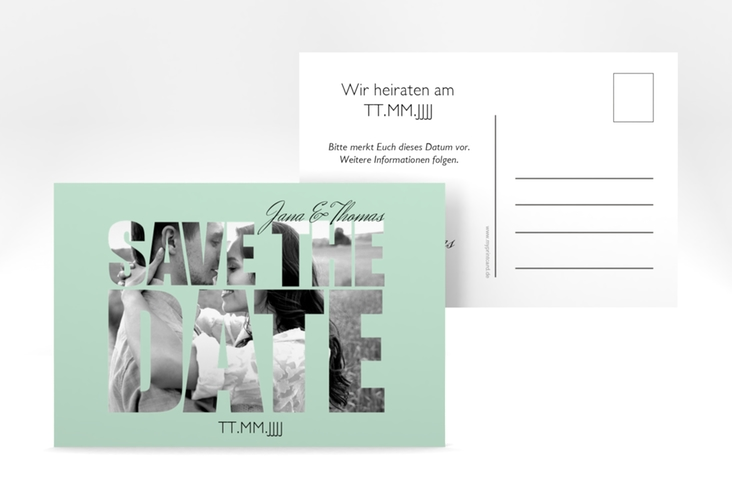 "Save the Date-Postkarte  ""Letters"" A6 Postkarte mint"