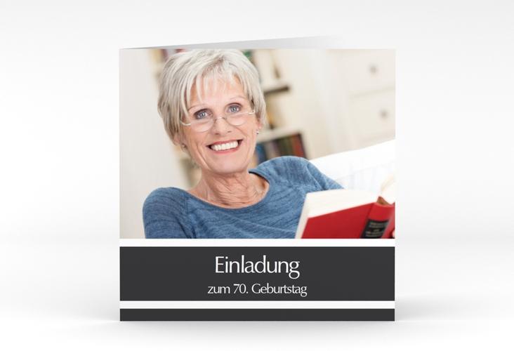 "Einladungskarte ""Gerd/Gerda"" Quadratische Klappkarte grau"
